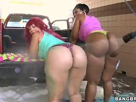 Two girls with their fat asses decided to go join us to a car wash